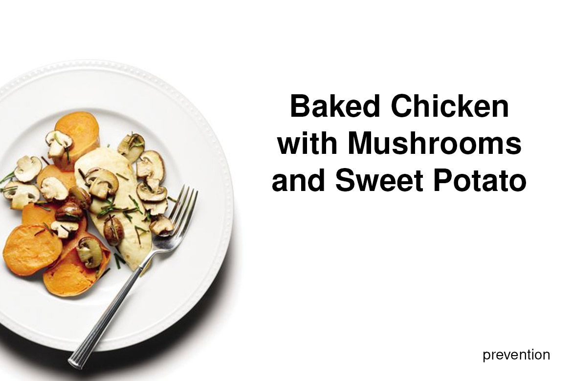 baked chicken with mashroom and sweet potato